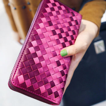 7 Colors Designer Wallet Women Woven Wallets Female Ladies Wallet Zipper Long Women PU Leather Clutch Purses Wallet  Purse 664