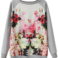 Gray Floral Printed Sweatshirt