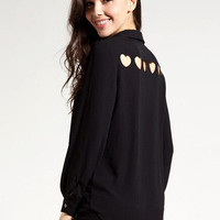 Black Shirt Collar Cuff Sleeve Chiffon Blouse with Back Heart Cut-Out