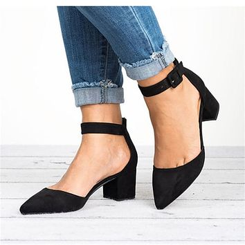 Women's Suede Ankle Strap Pumps