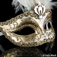 Venetian Masquerade Feather Mask Colombina Ciuffo Sisi Gold White