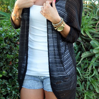 Black Knit Long Cardigan