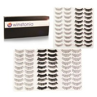 Winstonia's 50 Pairs False Eyelashes Fake Lashes Bundle Set w/ Adhesive - Natural, Thick, Criss-Cross Designs for Day & Night