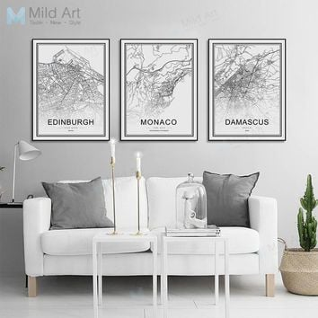 Black and White World City Map Las Vegas Toronto Posters Prints Nordic Living Room Home Decor Wall Art Pictures Canvas Paintings