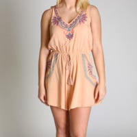 Flying Tomato Peach V-Neck Romper