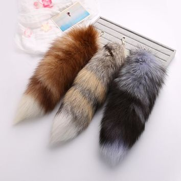 New Pattern Fox Fur Grass Imported 40cm Really Maohuli Baby Tail Multicolor Natural Color Bag Pendant