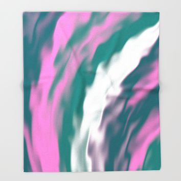 Colorful cold flames abstraction Throw Blanket by Natalia Bykova | Society6