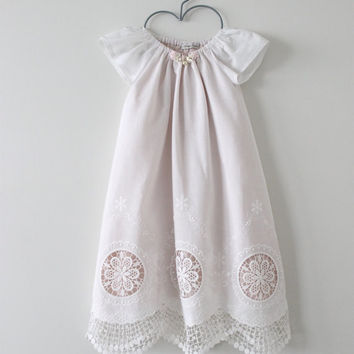 Baby Girl Baptism Dress-Antique White Cotton Lace Christening Dress with Bloomers and Headband-Special OccasionDress-Chasing Mini.