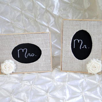 Set of 2 Wood Burlap Chalkboard Sign Table Number Frames Burlap & Shabby Chiffon Flower Rustic Shabby Chic Vintage Wedding Bridal Shower
