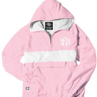 Pink and White Monogrammed Striped Personalized Half Zip Rain Jacket Pullover by Charles River Apparel