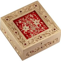 Mothers Day Gifts - SouvNear 6 Inch Red Jewelry Box - Decorative Zari and Wood Handmade Keepsake Box - Gifts for Her
