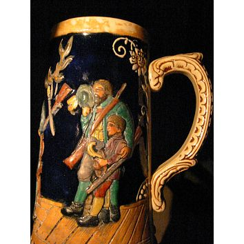 Majolica Figurative Hunting Mug With Provenance Made in Germany