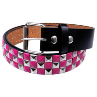 Pink Checker Studded Leather Belt