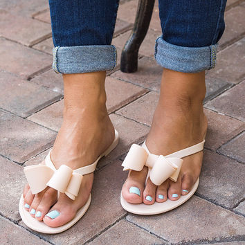 Italy Bow Jelly Sandals - Nude