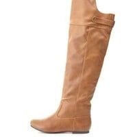 Qupid Flat Knee-High Boots by Charlotte Russe - Camel