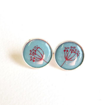 Botanical earring studs blue and red floral silver plated earrring studs ear post