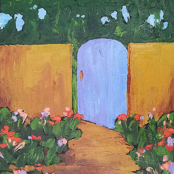 Impressionist Painting Original Plein Air Landscape Art BLUE GARDEN GATE 16x20 Free Shipping  Lynne French
