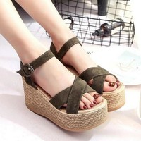 Suede & rope elevator sandals with criss cross tops