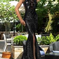 Black/SIlver/Gold Sequin Split Front Mermaid Cocktail Party Unique Prom Dress