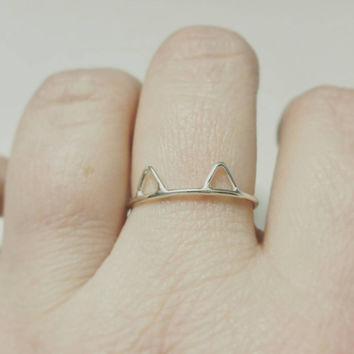 Cat Ring in Sterling Silver Cat Ears