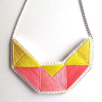 Embroidered statement necklace geometric design in bright yellows and pinks An Astrid Endeavor