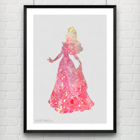 Princess Aurora Sleeping Beauty Disney Watercolor Art Print, Princess Room Wall Poster, Home Decor, Not Framed, Buy 2 Get 1 Free! [No. 44]