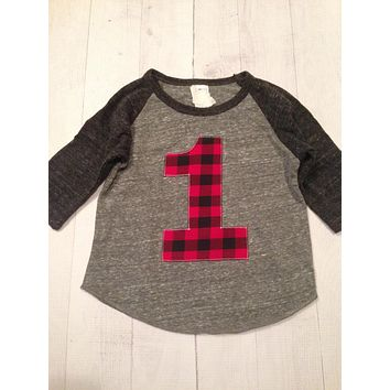 Buffalo plaid lumberjack birthday shirt Boys 1st First One 1 year old sports raglan red black gingham camper woods lumber jack checkers