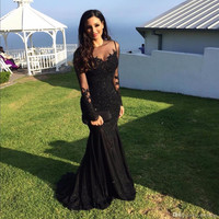 2017 Black Sexy Mermaid Prom Dresses Sheer Neck Long Sleeves Backless Floor Length Party Gowns Custom Made abendkleider