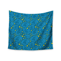 """Yenty Jap """"Starry And Cloudy Night"""" Blue Yellow Wall Tapestry"""