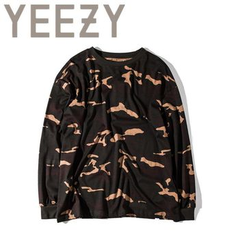 HCXX Kanye West YEEZY Camouflage T Shirt 1:1 High Quality SEASON 1 Summer Justin Bieber Clothes  Military Army Camo YEEZUS T-shirts