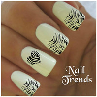 Zebra Nail Decal. 20 Vinyl Stickers Nail Art