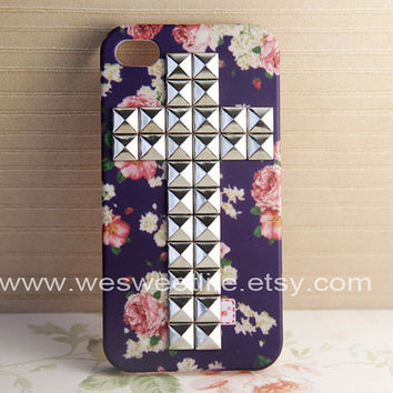 Iphone 4S case Iphone 4 Case Silver Cross Studded by wesweetlife
