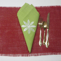 Glittery Red Christmas Burlap Placemat, Holiday Burlap Placemats, Christmas Table Accents, Burlap Holiday Decoration