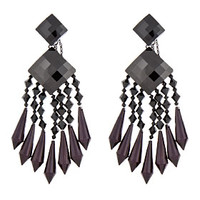 BLACK & BURGUNDY CHANDELIER EARRINGS