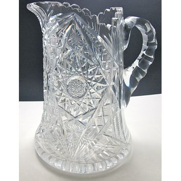 ABP cut glass pitcher ANTIQUE American brilliant period 8 lb