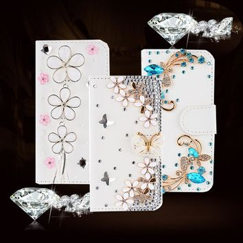 Glitter Diamond Flip Cover Leather Case for iPhone 5S 5 6S 6 Plus Book Wallet Bag Protective Phone Case Rhinestone White