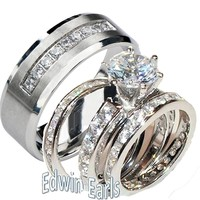 His Hers Wedding Ring Set Sterling Silver & Stainless Steel