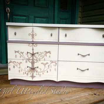 Painted furniture, Vintage dresser, furniture, console, girl UPcycled, shabby chic furniture,