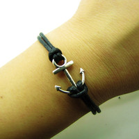 Vintage Style silvery Anchor black Ropes Bracelet Women Jewelry Bangle Cuff Bracelet Men Ropes Bracelet 1214A