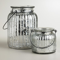 Silver Ribbed Mercury Glass Lantern Candleholders - World Market