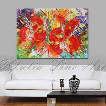 Abstract Painting, Floral Art, Red Flowers, Large Painting, Impasto Rich Texture, Ready to Hang, Colorful Modern, Green, White, Wall Art