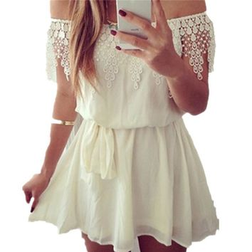 Off Shoulder Lace Crochet White Belted Short Chiffon Party Dresses Slash Neck Casual