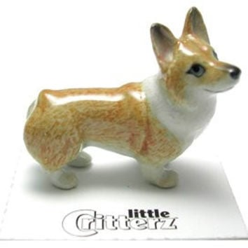 "WELSH CORGI Pembroke Puppy Dog ""Sasha"" MINIATURE Figurine Porcelain LITTLE CRITTERZ LC949"
