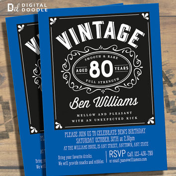 80th Birthday Invitation, 80th Birthday, Birthday Invite, 80 Birthday, Digital, Milestone, Printable, DIY, Invite, Template, Birthday Party