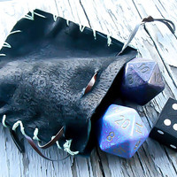 Black Leather Dice Bag, Drawstring Pouch, Dungeons and Dragons, Dice Holder, Table top, Leather coin purse, Geekery gift, Geekery accessory