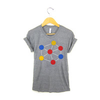 Molecule - Hand Stenciled Crew Neck Pinned Rolled Cuffs Boyfriend Fit  Tee in Heather Grey and White - Women's S M L XL 2XL 3XL