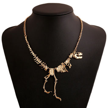 Best Deal New Diomedes Women Men Steampunk Necklace Goth Alloy Dinosaur Skeleton Tyrannosaurus T-Rex Charm Necklace Gift