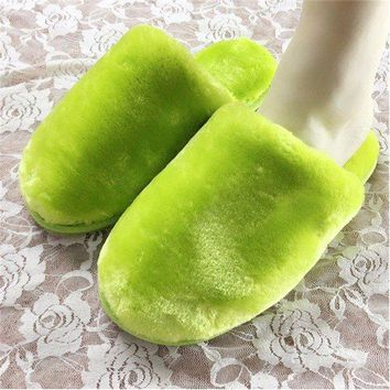 Home Indoor Floor Cover Heel Soft Plush Winter Warm Slipper