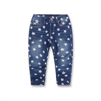 For 2-10Y Baby Girls Boys Jeans Denim Five Stars Print Kids Jeans For Girls Top Quality Casual Pants Children Trousers