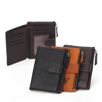 Zippers Vintage Leather Storage Men Wallet [9026275907]